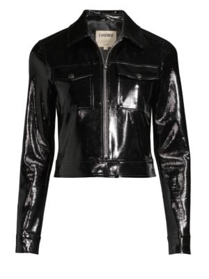 Lex Cropped Textured Patent-Leather Jacket, Black