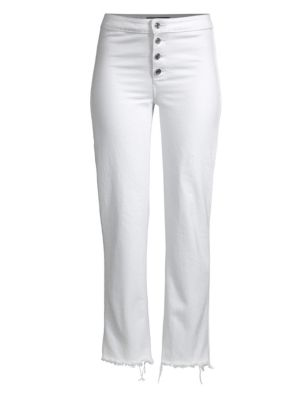 Max High-Rise Button-Front Jeans With Frayed Hem in White