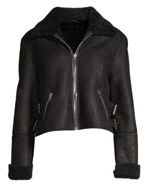 Albany Faux Shearling Leather Moto Jacket in Black