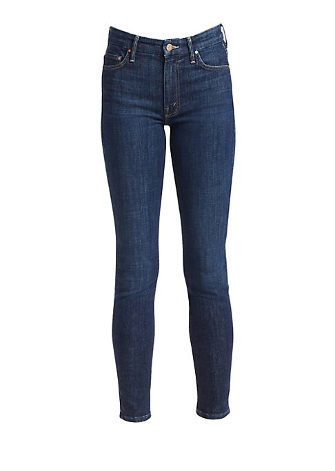 """Image of Stretch cotton jeans with a skinny leg and classic five-pocket styling. Belt loops. Zip fly with button closure. Five-pocket styling. Cotton/polyester/elastane. Machine wash. Made in USA from imported fabric. SIZE & FIT. Skinny leg. Rise, about 10"""".Inseam"""