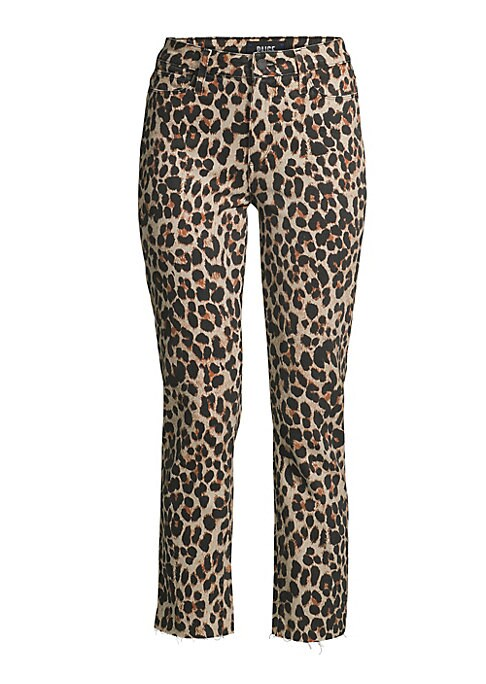 """Image of The high-rise straight-leg jean gets an animalistic makeover in a playful leopard print with a cropped length. Five-pocket style. Zip fly with button closure. Raw hems. Cotton/spandex. Machine wash. Made in USA. SIZE & FIT. Rise, about 10"""".Inseam, about 2"""