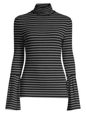 Kenzie Striped Turtleneck Sweater, Black White