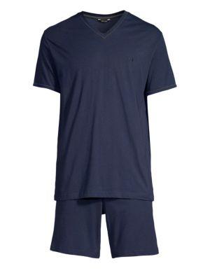 HOM Yoga Two-Piece Cotton Pajama Set in Navy