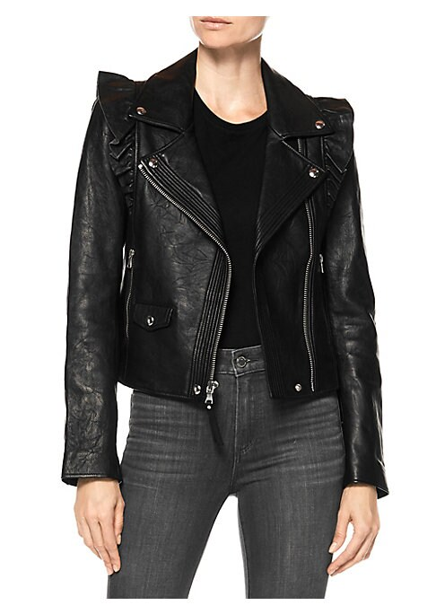 Image of Worn leather motorcycle jacket with asymmetric zipper detail and ruffle shoulder accents. Notch collar. Long sleeves. Zip front. Zip cuffs. Waist zip pockets. Waist snap flap pocket. Leather. Dry clean by leather specialist. Made in USA. SIZE & FIT. About