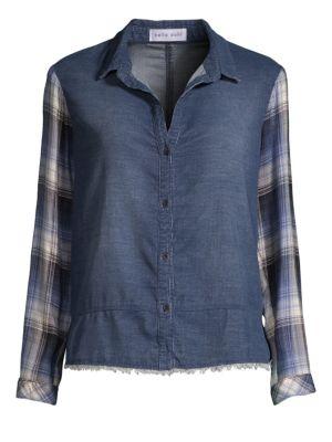 BELLA DAHL Denim & Plaid Patchwork Shirt in Balboa Wash
