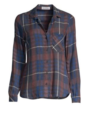 BELLA DAHL Plaid Button Down Shirt in Aurora Red