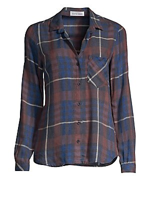"""Image of Classic plaid shirt in a slouchy long sleeve silhouette. Point collar Long sleeves Button front Button cuffs Chest patch pocket Shirttail hem Rayon/acrylic Machine wash Made in USA SIZE & FIT About 27"""" from shoulder to hem Model shown is 5'10"""" (177cm) wea"""