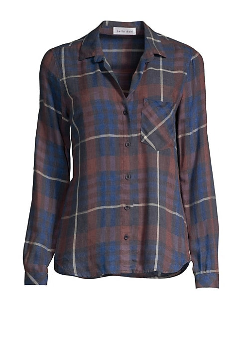 """Image of Classic plaid shirt in a slouchy long sleeve silhouette. Point collar. Long sleeves. Button front. Button cuffs. Chest patch pocket. Shirttail hem. Rayon/acrylic. Machine wash. Made in USA. SIZE & FIT. About 27"""" from shoulder to hem. Model shown is 5'10"""""""
