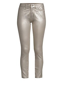 bf7d6c5750 Joe's Jeans. Charlie High-Rise Coated Metallic Ankle Jeans