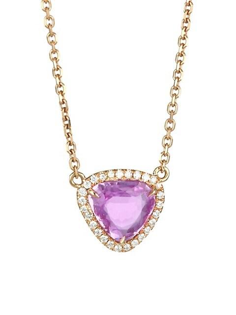 18K Rose Gold Diamond & Pink Sapphire Pendant Necklace