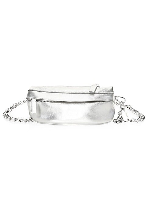 "Image of Bold metallic leather accentuates intricate chain belt on this belt bag. Chain belt. Top zip closure. Silvertone hardware. One exterior front zip pocket. Fully lined. Metallic leather. Made in Italy. SIZE.7.75""W x 4""H."
