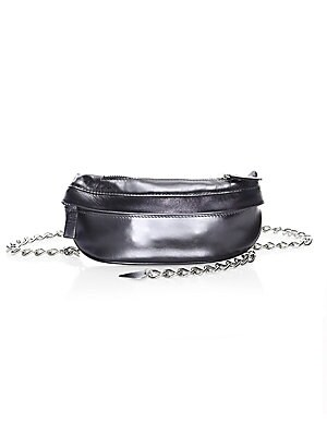 "Image of Bold metallic hue accentuates belt bag's striking chain. Chain waist belt Top zip closure Silvertone hardware One exterior front zip pocket Metallic leather Made in Italy SIZE 7.75""W x 4""H. Handbags - Collection Handbags. Avec La Troupe. Color: Black Meta"