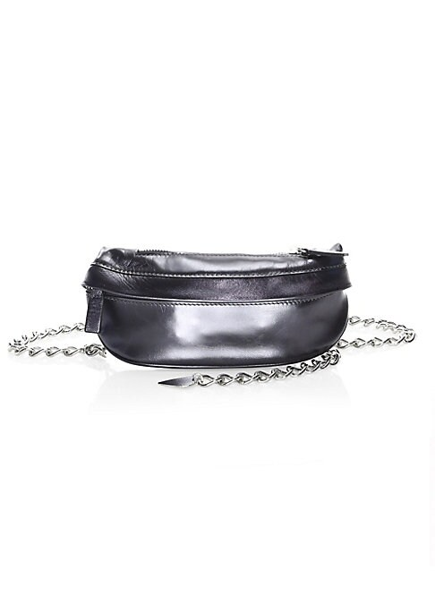 """Image of Bold metallic hue accentuates belt bag's striking chain. Chain waist belt. Top zip closure. Silvertone hardware. One exterior front zip pocket. Metallic leather. Made in Italy. SIZE.7.75""""W x 4""""H."""