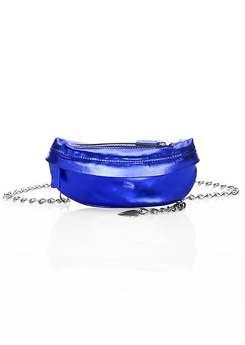 """Image of Bold metallic leather belt bag is punctuated by chain belt. Top zip closure. Silvertone hardware. One exterior front zip pocket. Fully lined. Metallic leather. Made in Italy. SIZE.7.75""""W x 4""""H."""