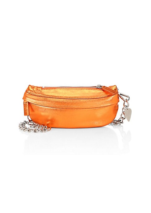 Image of A more glamorous take on Avec La Troupe's signature belt bag. Metallic leather and a metal chain strap make this belt bag totally unmissable, whether you wear it around your waist or over your shoulder. Removable chain strap. Top zip close. One exterior z