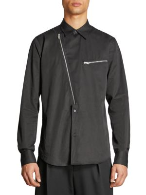 Men'S Asymmetric-Zip Cotton Shirt in Black