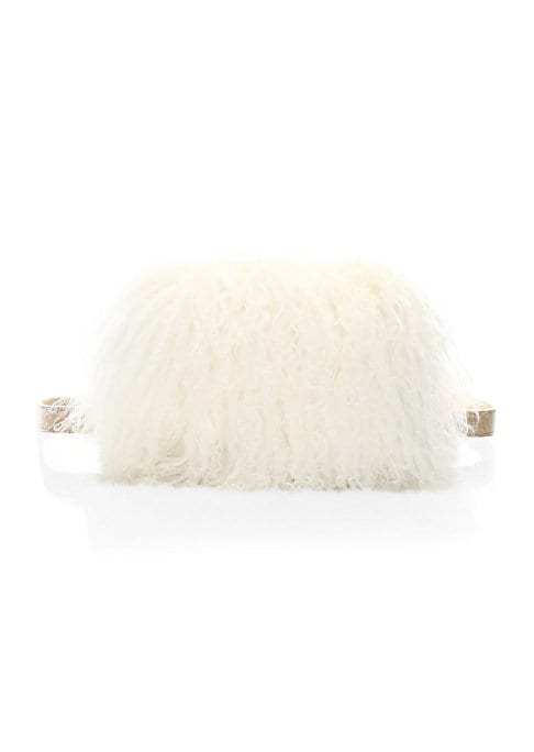 """Image of Luxe shearling lends glamour to this leather belt bag. Adjustable belted waist. Magnetic flap closure. Silvertone hardware. Leather/shearling. Fur type: Dyed sheep shearling. Fur origin: China. Imported. SIZE.7.5""""W x 4""""H x 1.5""""D."""