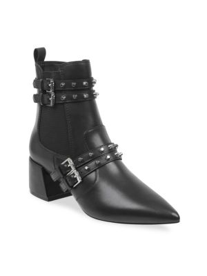 Rad Studded Leather Booties in Black