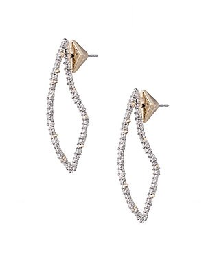 """Image of Abstract teardrop earrings flaunt a pave finish. Rhodium Swarovski crystals Post back Imported SIZE Drop, 1.7"""". Fashion Jewelry - Alexis Bittar. Alexis Bittar."""