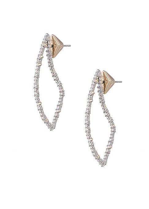 """Image of Abstract teardrop earrings flaunt a pave finish. Rhodium. Swarovski crystals. Post back. Imported. SIZE. Drop, 1.7""""."""