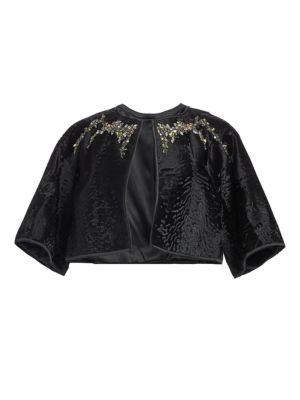 THE FUR SALON Embellished Broadtail Fur Bolero in Black