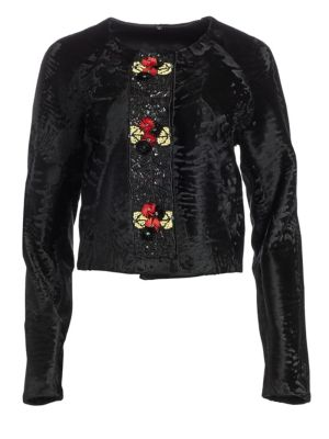 THE FUR SALON Embellished Broadtail Fur Bolero Jacket in Black