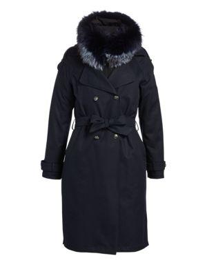 THE FUR SALON Fox Fur-Trim Trench Coat in Navy