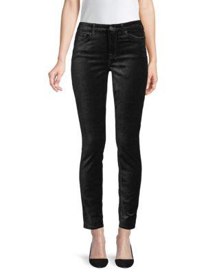 Velvet Ankle Skinny High Waist Pants, Black