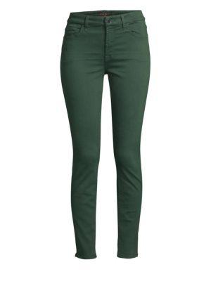 Mid-Rise Skinny Twill Pants W/ Unraveled Hem, Envy Green