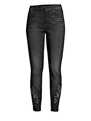 Metallic Floral-Embroidery Ankle Skinny Jeans, Black