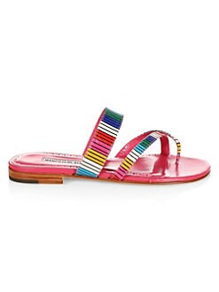 Image result for Manolo Blahnik Susa Snakeskin Rainbow Stripe Flats