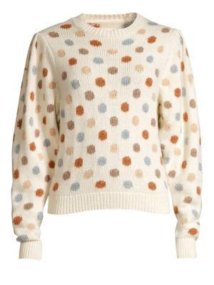 Rebecca Taylor Jacquard Knit Dot Sweatshirt In Ivory Multi