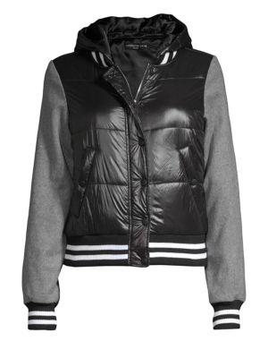 Generation Love Max Varsity Wool-Sleeve Bomber Jacket
