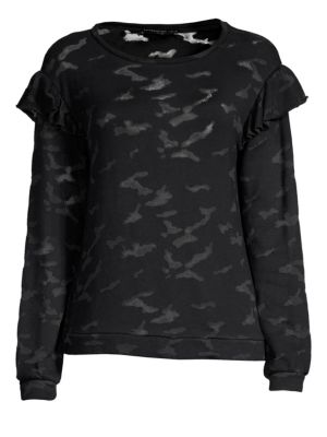 GENERATION LOVE Oliver Burnout Ruffle Shoulder Sweatshirt in Black