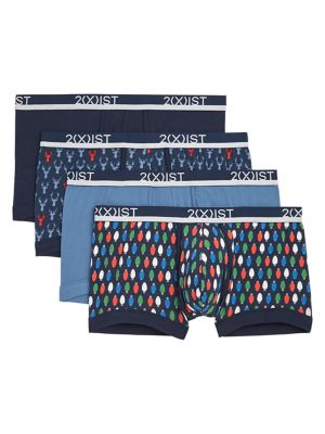 Image of 2XIST 4-Pack Cotton Stretch No-Show Trunks
