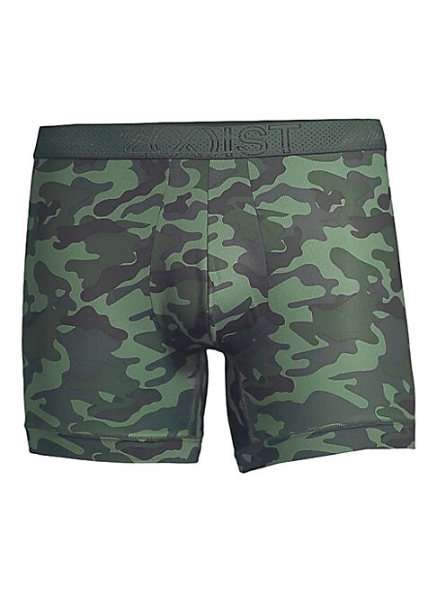 """Image of Camo boxer briefs cut from moisture-wicking, breathable, and lightweight mesh. Elasticized logo waistband. Contour pouch. Tag-free. Flat no-show seams. Polyester/spandex. Machine wash. Imported. SIZE & FIT. Low rise. Inseam, about 5""""."""
