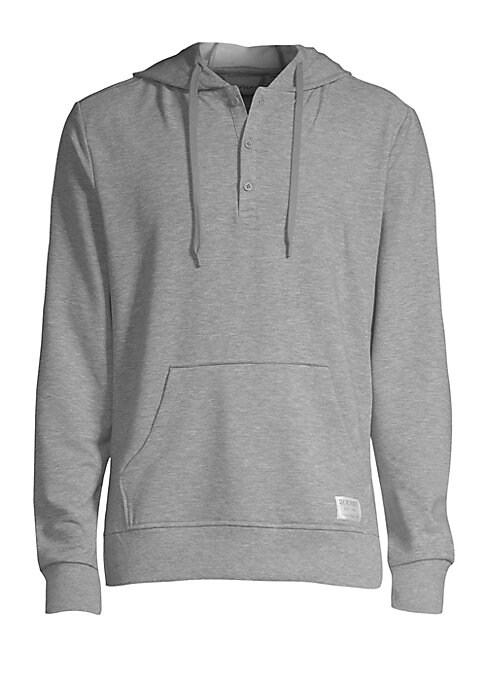 """Image of Classic hoodie in super-soft fabrication with logo detail. Attached drawstring hood. Long sleeves. Three-button placket. Rib-knit cuffs & hem. Kangaroo pouch pocket. Polyester/rayon/spandex. Machine wash. Imported. SIZE. About 26"""" from shoulder to hem."""