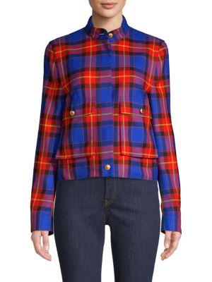 ESCADA SPORT Short Plaid Jacket in Garnet