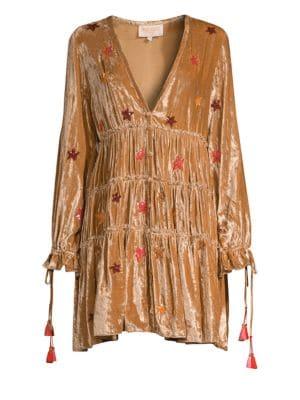 ROCOCO SAND Velvet Sequin Star Peasant Dress in Beige