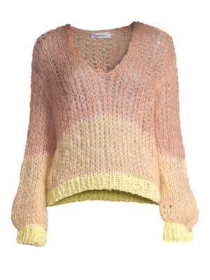 MAIAMI Stripe Mohair Blend Sweater in Nude Lemon