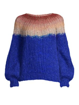MAIAMI Gradient Mohair Blend Sweater in Royal