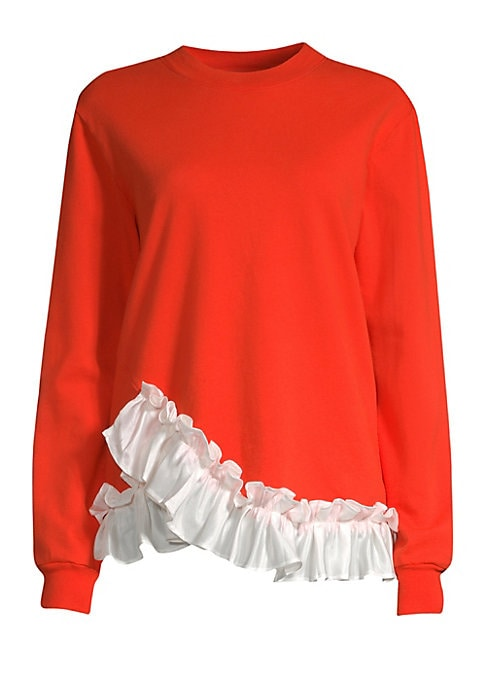 """Image of Casual cotton sweatshirt elevated with a glossy ruffle trim. Roundneck. Long sleeves. Pullover style. Rib-knit trim. Asymmetric ruffle hem. Cotton. Contrast: Polyester. Hand wash. Made in USA. SIZE & FIT. About 25.5"""" from shoulder to hem. Model shown is 5"""