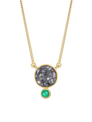 SHANA GULATI Tulum Ophelia 18K Gold Vermail, Green Onyx & Sliced Raw Diamonds Pendant Necklace