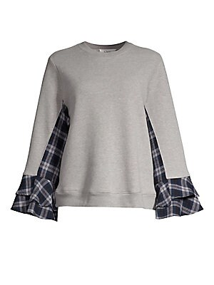 """Image of Bell sleeve sweatshirt with check panels and tiered cuffs. Crewneck Long sleeves Pullover style Rib-knit trim Ruffle cuffs Cotton/polyester Contrast: Cotton Rub: Cotton/polyester Hand wash Made in USA SIZE & FIT About 22.5"""" from shoulder to hem Model show"""