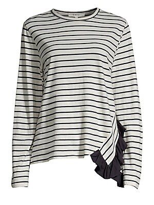"""Image of Classic Breton stripe cotton long sleeve tee modernized with side ruffle detail. Banded roundneck Long sleeves Pullover style Side ruffle Cotton Dry clean Made in USA SIZE & FIT About 24.5"""" from shoulder to hem Model shown is 5'10"""" (177cm) wearing US size"""