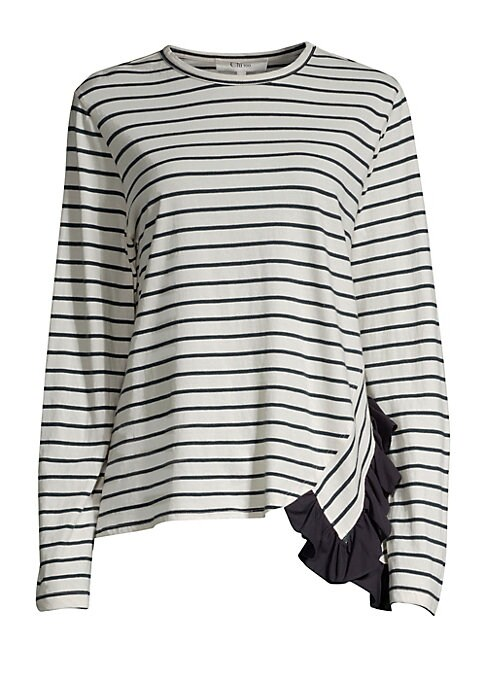 """Image of Classic Breton stripe cotton long sleeve tee modernized with side ruffle detail. Banded roundneck. Long sleeves. Pullover style. Side ruffle. Cotton. Dry clean. Made in USA. SIZE & FIT. About 24.5"""" from shoulder to hem. Model shown is 5'10"""" (177cm) wearin"""