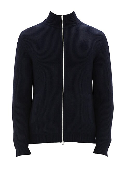 """Image of Layer on this luxurious merino wool jacket for a smart, polished look. Stand collar. Long sleeves. Zip front. Merino wool. Dry clean. Imported. SIZE & FIT. Regular fit. About 28"""" from shoulder to hem."""