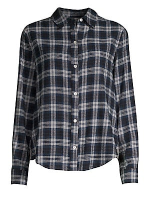 Image of Back ruffle trim detail and contrast check elevate this cotton flannel shirt. Spread collar Long sleeves Button barrel cuffs Button cuffs Shirttail hem Contrast back panel with ruffle trim Cotton Back/sleeves: Polyester/rayon/spandex Dry clean Made in USA