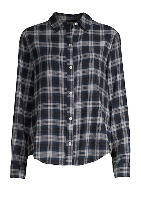 Image of Back ruffle trim detail and contrast check elevate this cotton flannel shirt. Spread collar. Long sleeves. Button barrel cuffs. Button cuffs. Shirttail hem. Contrast back panel with ruffle trim. Cotton. Back/sleeves: Polyester/rayon/spandex. Dry clean. Ma