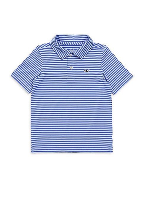 Image of Striped Polo shirt with whale logo at the chest. Polo collar. Short sleeves. Two-button placket. Polyester/spandex. Machine wash. Imported.